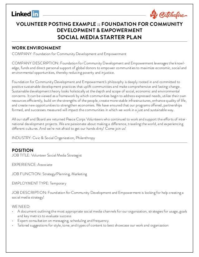 VOLUNTEER POSTING EXAMPLE :: FOUNDATION FOR COMMUNITY DEVELOPMENT & EMPOWERMENT  SOCIAL MEDIA STARTER PLAN  WORK ENVIRONME...