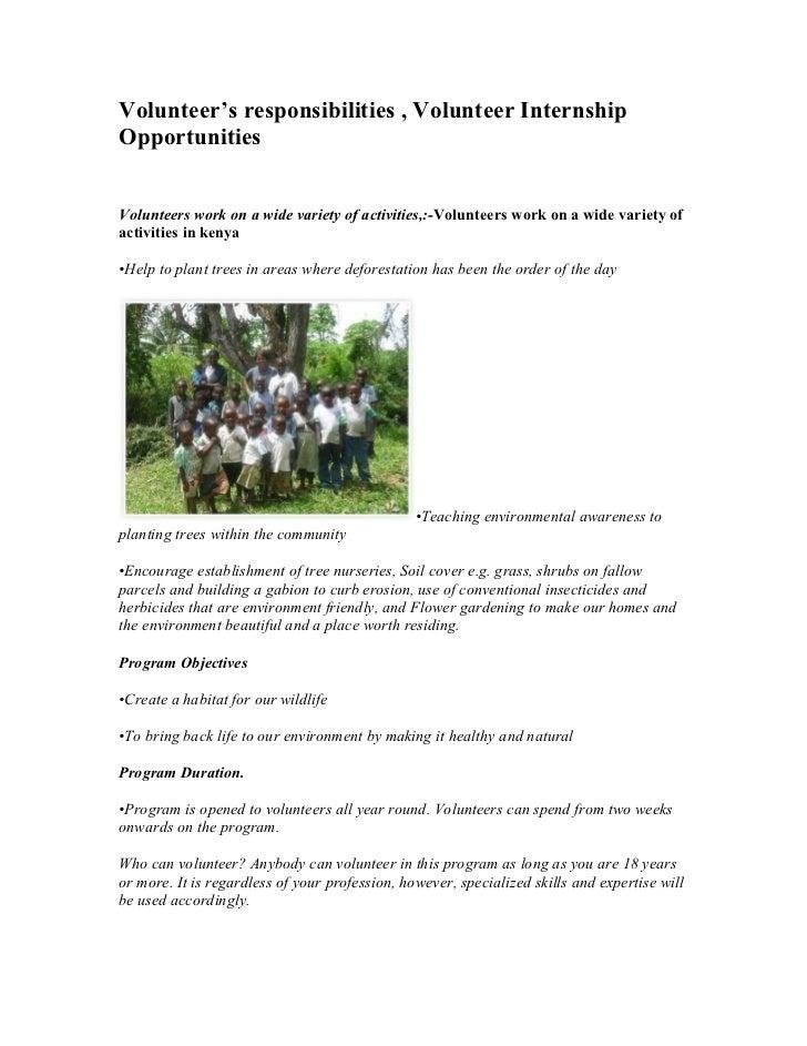 Volunteer's responsibilities , volunteer internship opportunities
