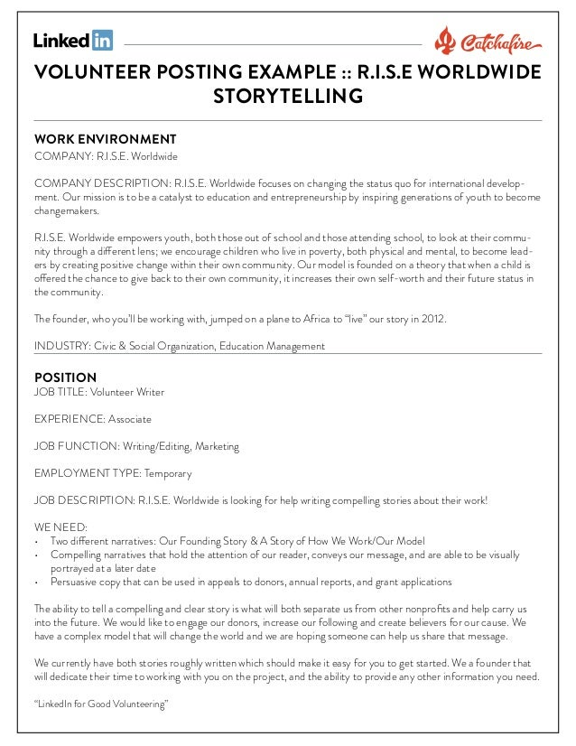 VOLUNTEER POSTING EXAMPLE :: R.I.S.E WORLDWIDE STORYTELLING WORK ENVIRONMENT  COMPANY: R.I.S.E. Worldwide COMPANY DESCRIPT...
