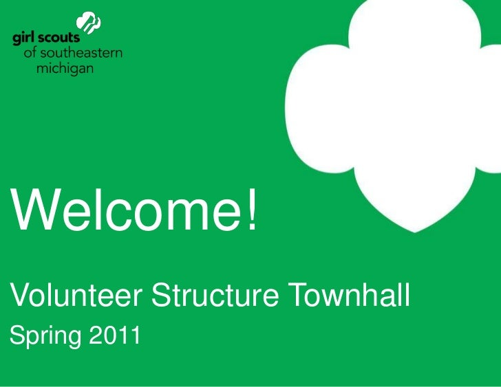 Welcome!<br />Volunteer Structure Townhall<br />Spring 2011<br />