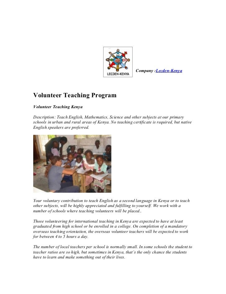 Volunteer Teaching Program in Kenya