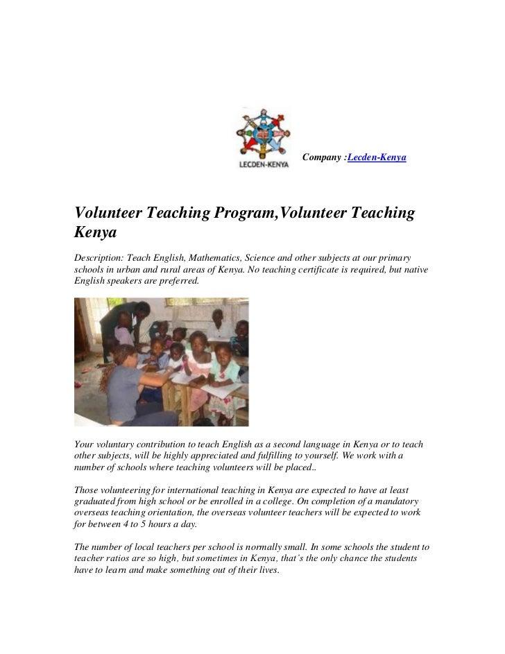 Volunteer teaching program,volunteer teaching kenya