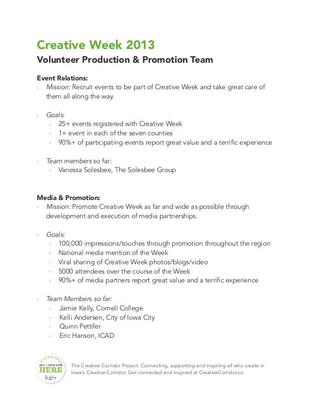 Creative Week 2013 Volunteer Production & Promotion Team Event Relations: ‣ Mission: Recruit events to be part of Creative...