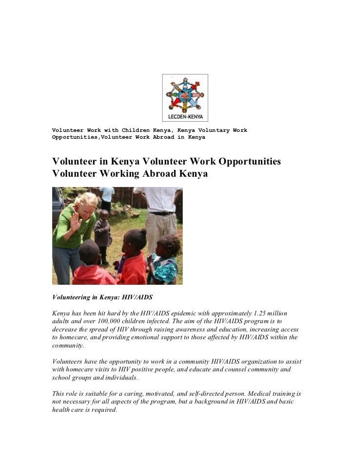 Volunteer work with children kenya, kenya voluntary work opportunities,volunteer work abroad in kenya