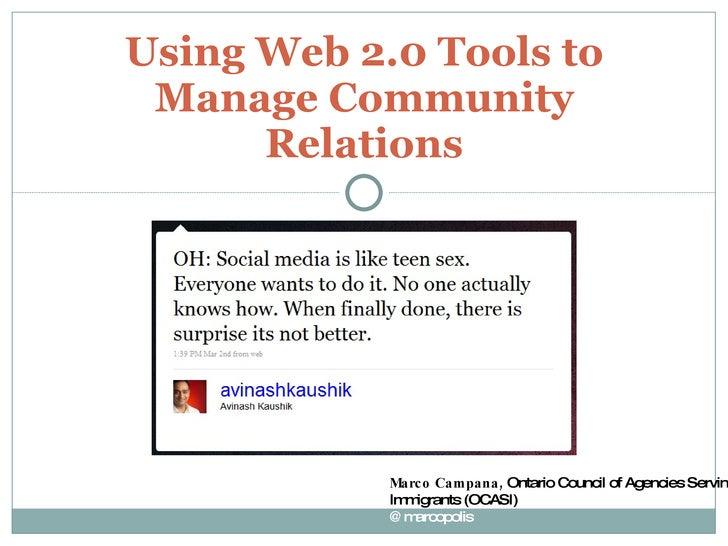 Volunter Toronto Using Web 2.0 Tools to Manage Community Relations