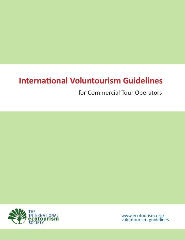 International Voluntourism Guidelines for Commercial Tour Operators