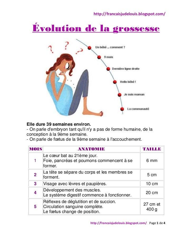 http://francaisjudelouis.blogspot.com/  Évolution de la grossesseElle dure 39 semaines environ.- On parle dembryon tant qu...