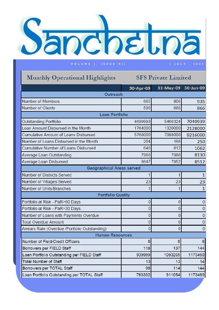 Sanchetna Microfinance Newsletter July 2009
