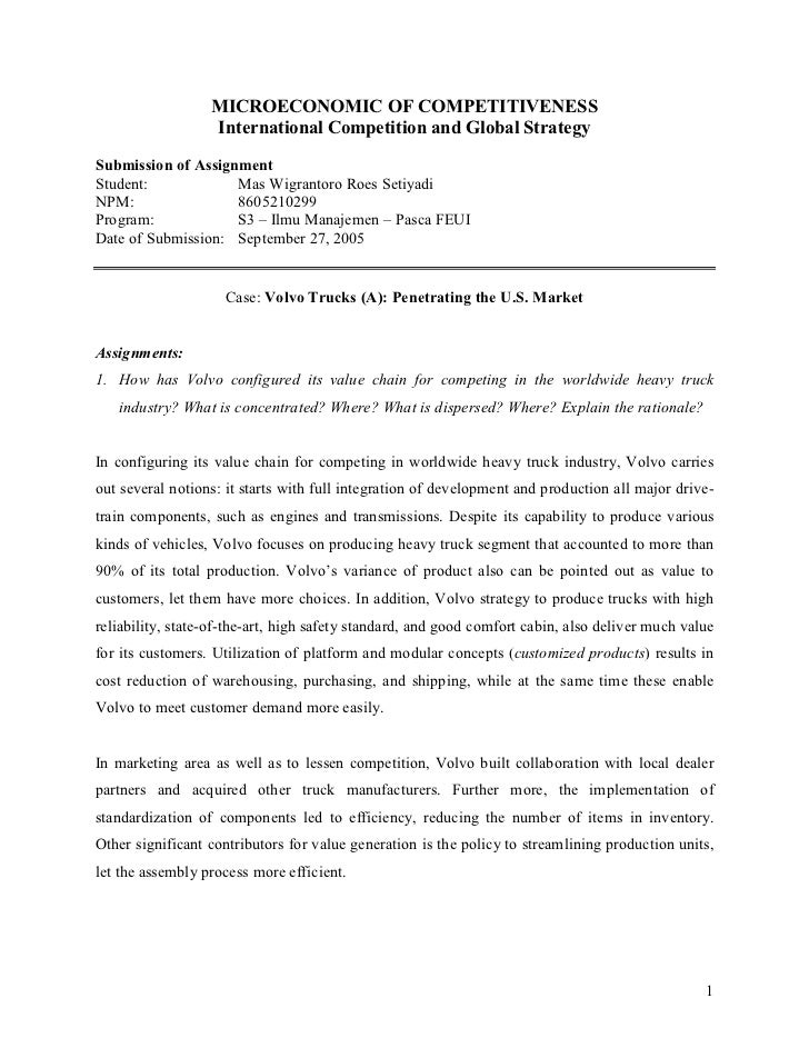 MICROECONOMIC OF COMPETITIVENESS                  International Competition and Global StrategySubmission of AssignmentStu...
