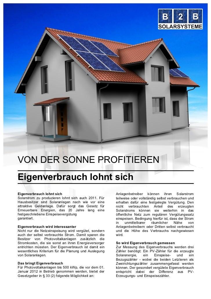 VON DER SONNE PROFITIERENEigenverbrauch lohnt sichEigenverbrauch lohnt sich                               Anlagenbetreiber...