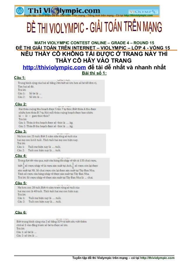 Violympic _ lớp 4 - Cấp huyện  - Vòng 15