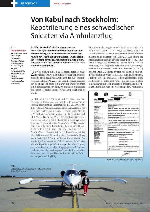 reportage                            Ambulanzflug                         Von Kabul nach Stockholm:                       ...