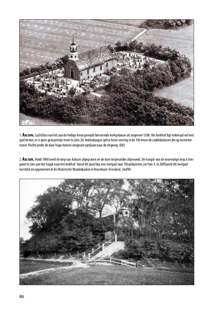1. AAlsum. Luchtfoto van het aan de heilige Anna gewijde hervormde kerkgebouw uit ongeveer 1200. Het kerkhof ligt helemaal...