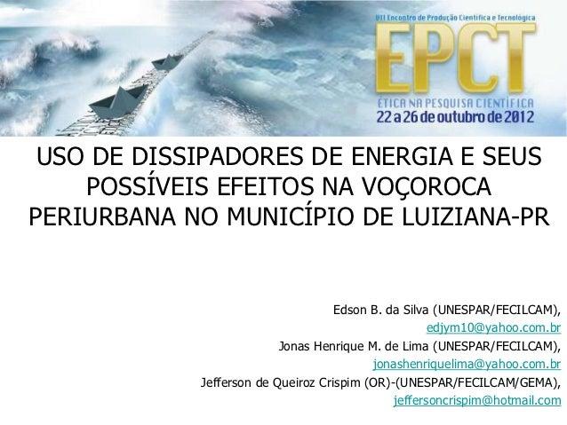 USO DE DISSIPADORES DE ENERGIA E SEUS    POSSÍVEIS EFEITOS NA VOÇOROCAPERIURBANA NO MUNICÍPIO DE LUIZIANA-PR              ...