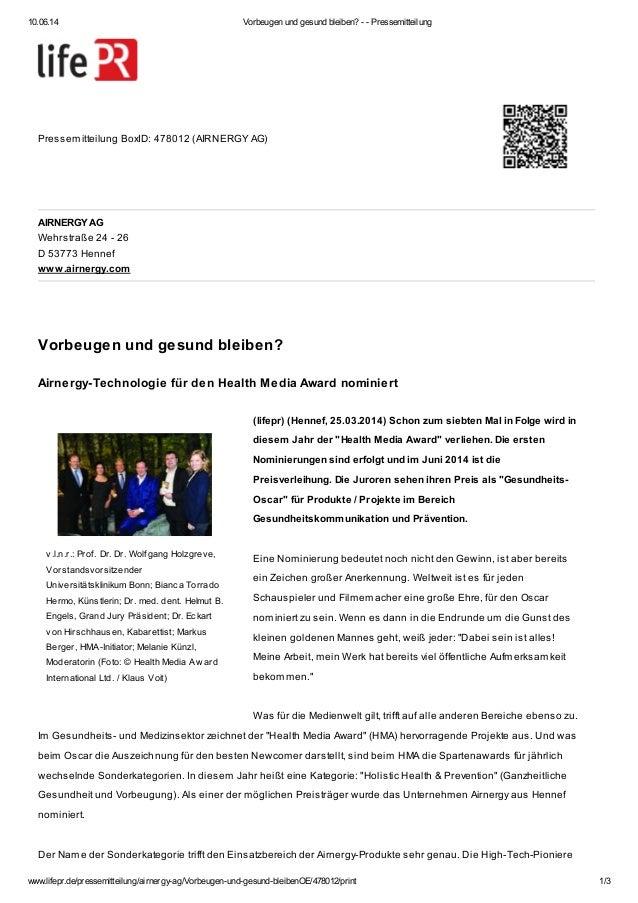 10.06.14 Vorbeugen und gesund bleiben? - - Pressemitteilung www.lifepr.de/pressemitteilung/airnergy-ag/Vorbeugen-und-gesun...