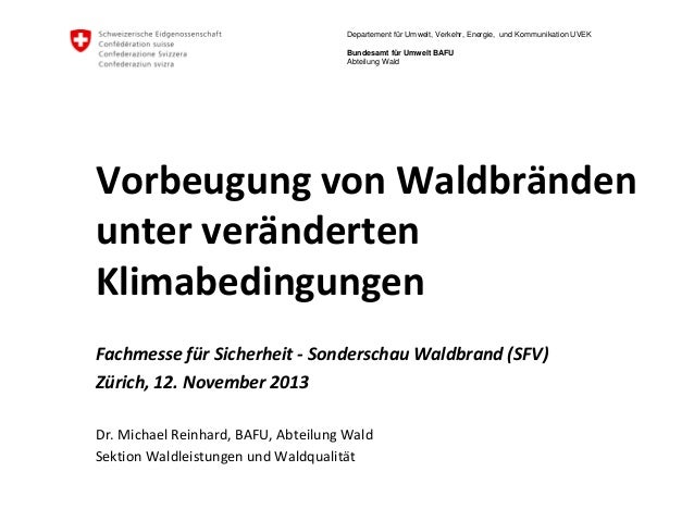 Departement für Umwelt, Verkehr, Energie, und Kommunikation UVEK Bundesamt für Umwelt BAFU Abteilung Wald  Vorbeugung von ...