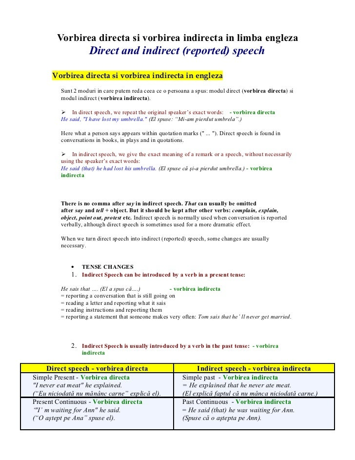 Vorbirea directa si vorbirea indirecta in limba engleza                    Direct and indirect (reported) speech      Vorb...