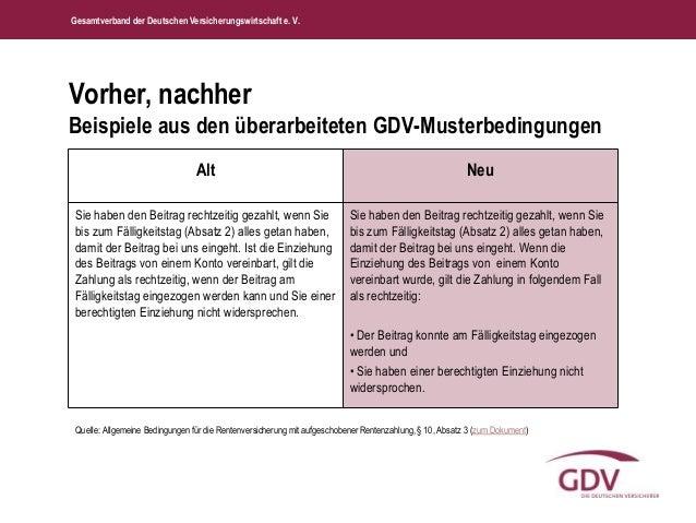 Gesamtverband der Deutschen Versicherungswirtschaft e. V.  Vorher, nachher  Beispiele aus den überarbeiteten GDV-Musterbed...