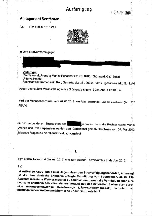 """·I Amtsgericht SonttJofen ' Az.: 1 Ds 400 Js 17155/11 In dem Strafverfahren gegen Verteidiger: A """"' t""""usrer 1gung Rechtsan..."""