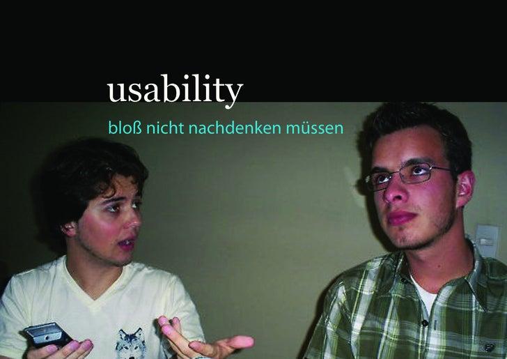 usability bloß nicht nachdenken müssen