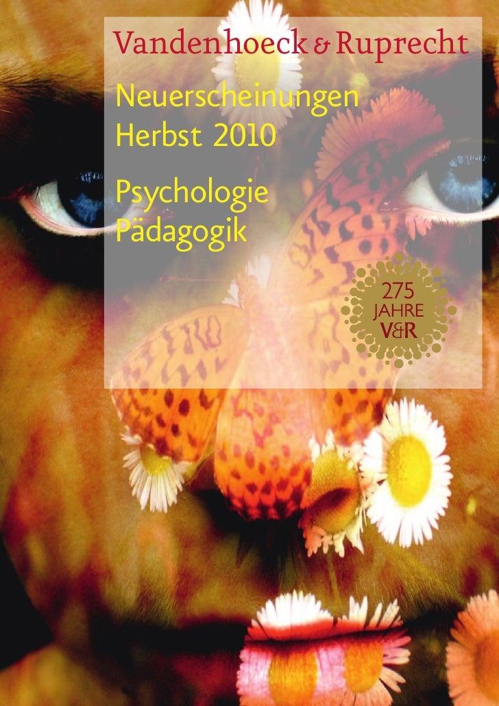 Vandenhoeck & Ruprecht Neuerscheinungen Herbst 2010 Psychologie Pädagogik