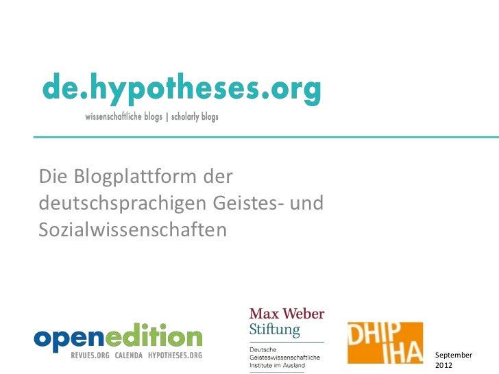 Die Blogplattform derdeutschsprachigen Geistes- undSozialwissenschaften                                 September         ...