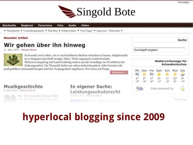 hyperlocal blogging since 2009