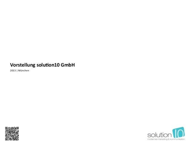 Kurzpräsentation solution10 GmbH