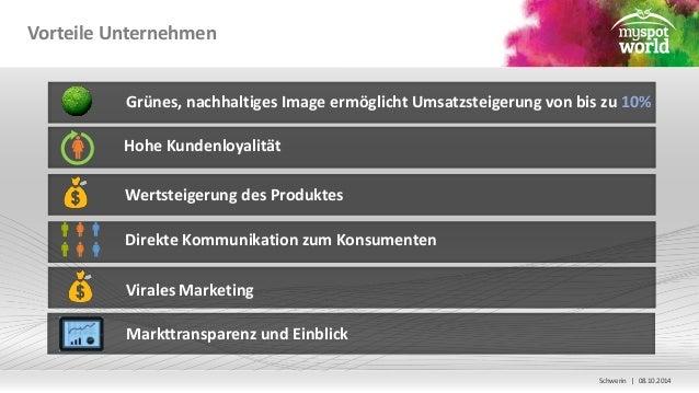 Schwerin | 08.10.2014  Vorteile Unternehmen  Grünes, nachhaltiges Image ermöglicht Umsatzsteigerung von bis zu 10%  Hohe K...