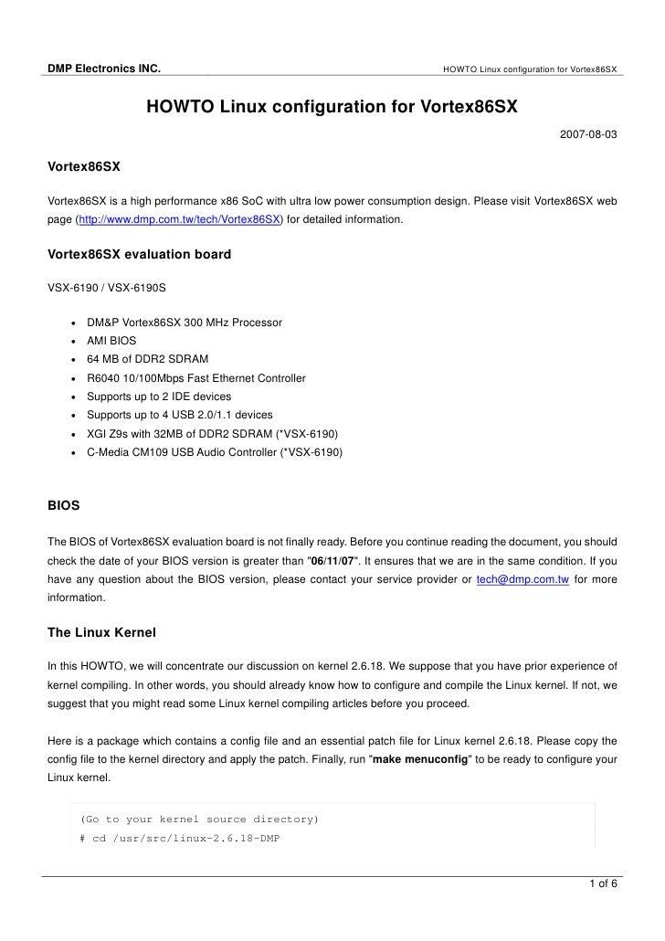 DMP Electronics INC.                                                             HOWTO Linux configuration for Vortex86SX ...