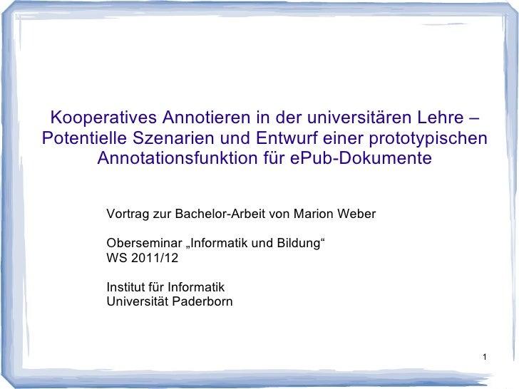 Kooperatives Annotieren in der universitären Lehre –Potentielle Szenarien und Entwurf einer prototypischen       Annotatio...
