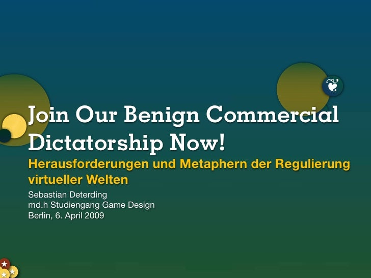 Join Our Benign Commercial Dictatorship Now! Metaphern und Herausforderungen der Regulierung virtueller Welten