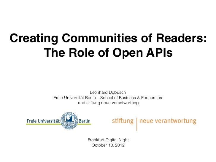 Creating Communities of Readers: The Role of Open APIs