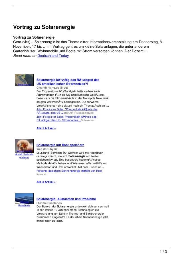 Vortrag zu SolarenergieVortrag zu SolarenergieGera (vhs) – Solarenergie ist das Thema einer Informationsveranstaltung am D...