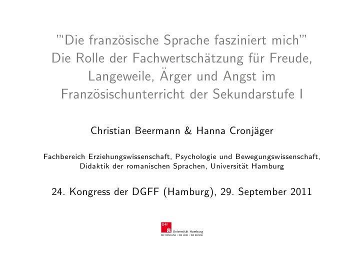 """""""'Die franz¨sische Sprache fasziniert mich""""              o                               '  Die Rolle der Fachwertsch¨tzun..."""