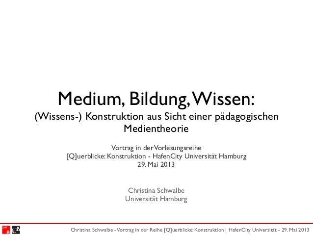 Christina Schwalbe -Vortrag in der Reihe [Q]uerblicke: Konstruktion | HafenCity Universität - 29. Mai 2013Medium, Bildung,...