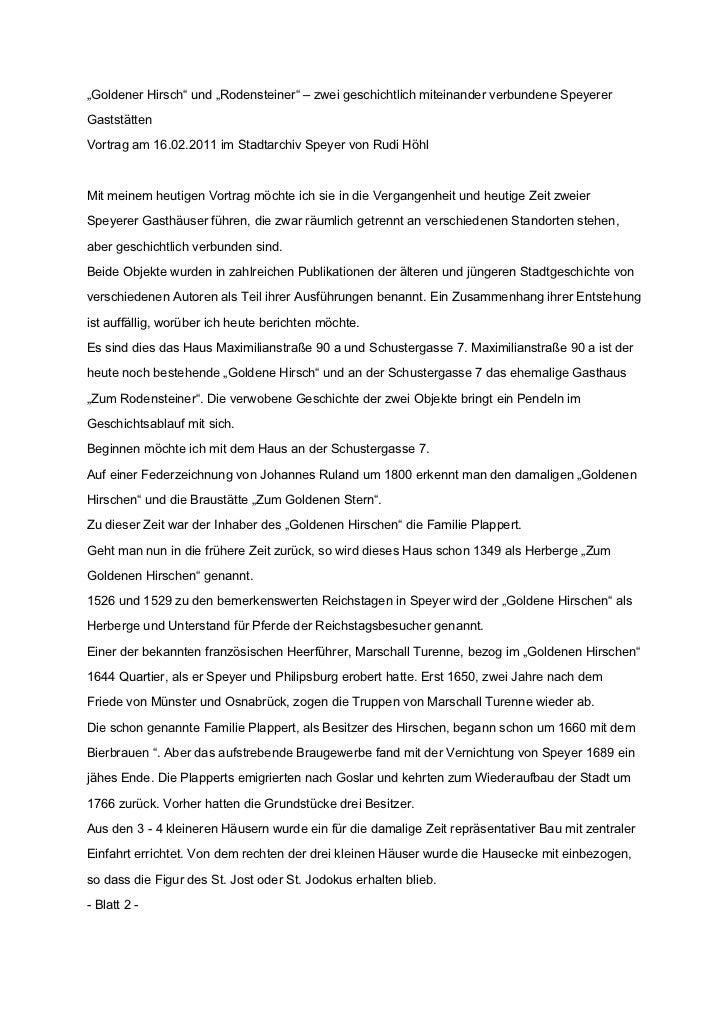 """""""Goldener Hirsch"""" und """"Rodensteiner"""" – zwei geschichtlich miteinander verbundene SpeyererGaststättenVortrag am 16.02.2011 ..."""