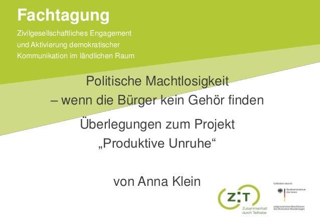 Zivilgesellschaftliches Engagement und Aktivierung demokratischer Kommunikation im ländlichen Raum Fachtagung Politische M...