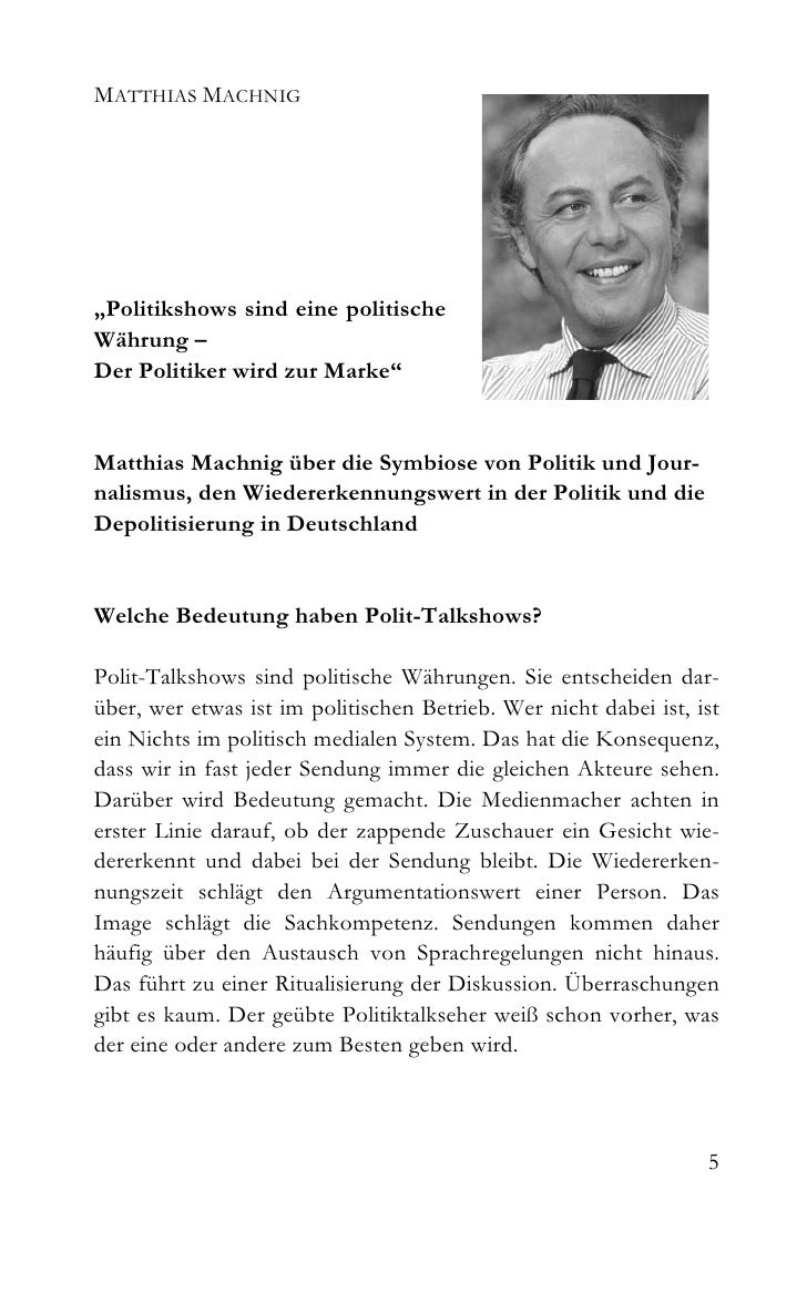 """MATTHIAS MACHNIG     """"Politikshows sind eine politische Währung – Der Politiker wird zur Marke""""   Matthias Machnig über di..."""