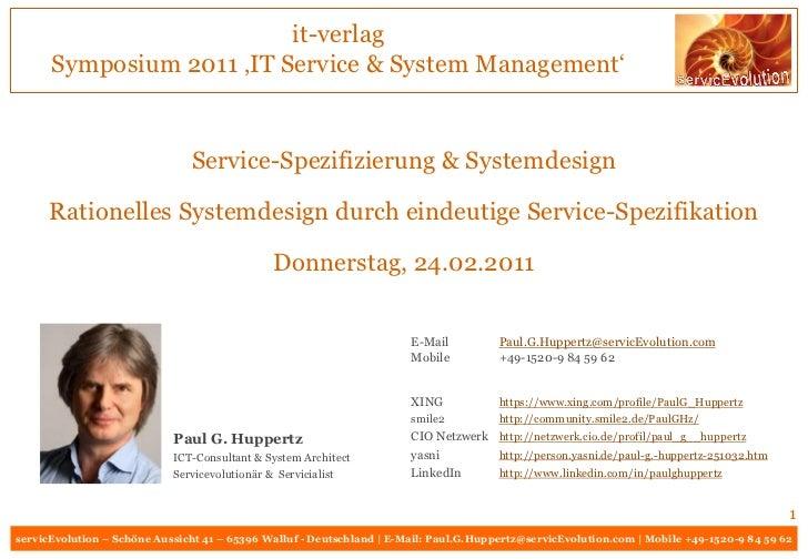 it-verlag      Symposium 2011 'IT Service & System Management'                               Service-Spezifizierung & Syst...