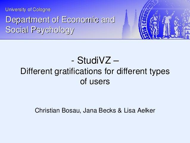 StudiVZ - Different gratifications for different types of users - Vortrag DGPs Fachgruppentagung Media Psychologie Duisburg-Essen 2009