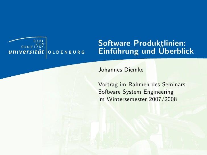 Software Produktlinien: Einführung und Überblick (Vortrag)
