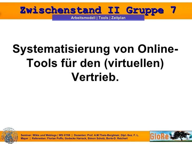 <ul><li>Systematisierung von Online-Tools für den (virtuellen) Vertrieb. </li></ul>