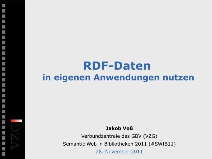 RDF-Daten in eigenen Anwendungen nutzen