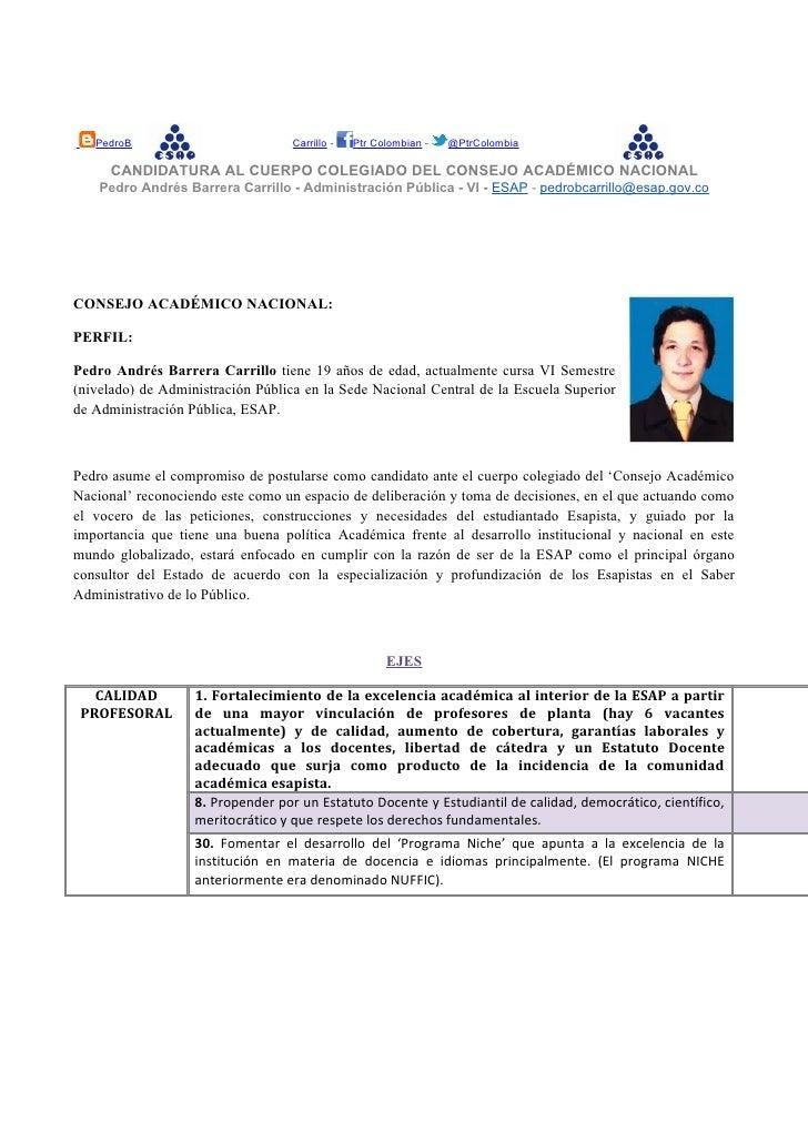 Vota PEDRO BARRERA al Consejo Academico Nacional de la ESAP