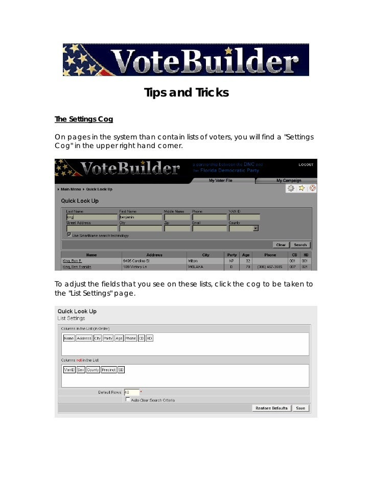 Vote Builder Tips