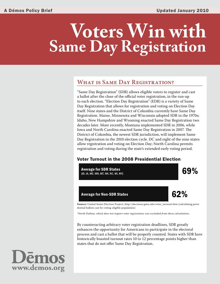 Voters Win with Same Day Registration