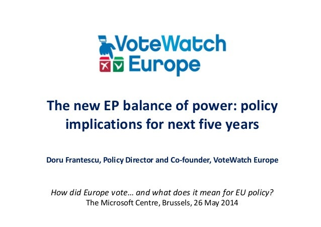 The new EP balance of power: policy implications for next five years Doru Frantescu, Policy Director and Co-founder, VoteW...