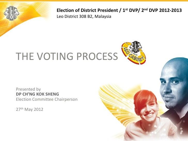 Election of District President / 1st DVP/ 2nd DVP 2012-2013                   Leo District 308 B2, MalaysiaTHE VOTING PROC...