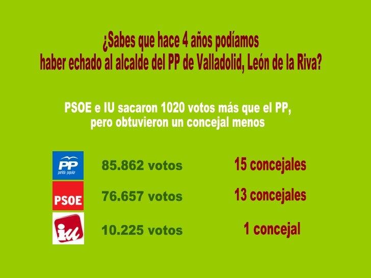 ¿Sabes que hace 4 años podíamos haber echado al alcalde del PP de Valladolid, León de la Riva? PSOE e IU sacaron 1020 voto...